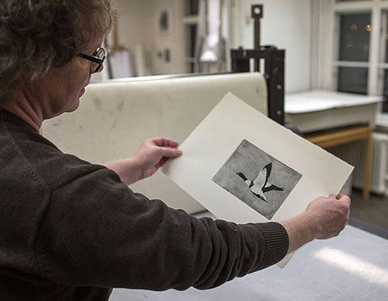 Ulf Uvesten betraktar fotopolymertryck
